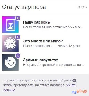 """Достижения """"Статус партнёра"""""""